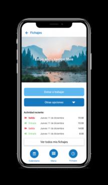 Vista de la aplicación móvil de la pantalla de fichaje