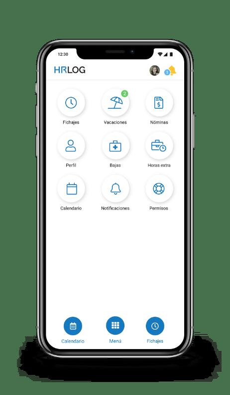 Panrtalla de inicio con menu de funcionalidades en móvil